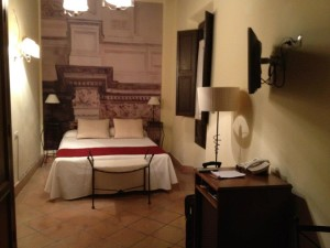 My lovely room at the Casa del Capitel Nazari. It is a restored 16-century Renaissance palace.